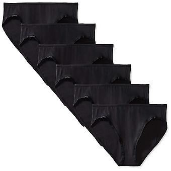 Essentials Women's Cotton Stretch Bikini Panty,, 6-pack noir, taille petite