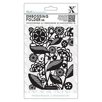 Xcut A6 Embossing Folder Folk Florals