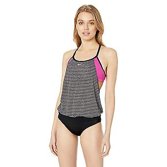 Nike Swim Women's Layered Sport Tankini Swimsuit Set, Laser Fuchsia Heather S...
