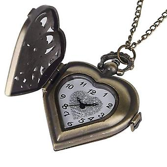 Antique bronze heart locket pocket watch for woman