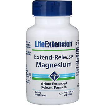 Extensión de vida, magnesio de liberación extensible, 60 cápsulas vegetarianas