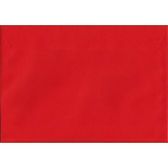 Pillar Box Red Peel/Seal C4/A4 Coloured Red Envelopes. 120gsm Luxury FSC Certified Paper. 229mm x 324mm. Wallet Style Envelope.