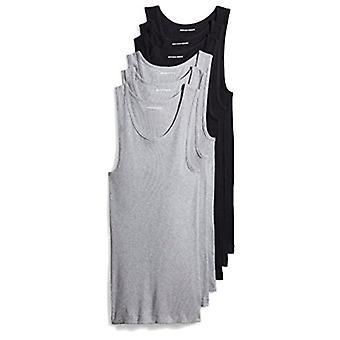 Essentials Men's 6-Pack Tank Unterhemden, schwarz/Heather grau, X-Small