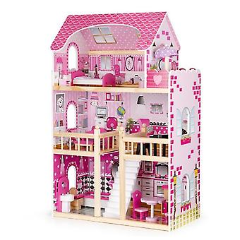Wooden dollhouse pink with 3 floors 59x30x90 cm
