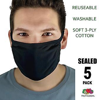 5 Pack • schwarz wiederverwendbare weiche Baumwolle waschbar 3 Ply Gesichtsmaske Abdeckungen FOTL