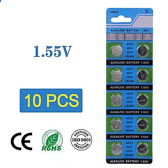 10pcs Cell Coin Battery With 1.55v Ag13 Lr44 Button Batteries  For Watch
