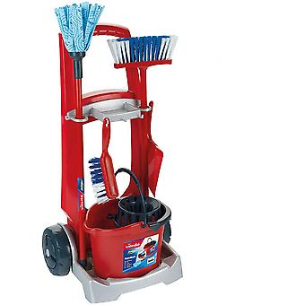 Theo Klein Vileda Toy Cleaning Trolley Red