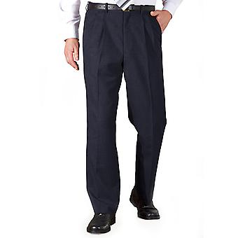 Chums Mens Poly Viscose Pleated Trouser Pants With Extra Stretch Waistband