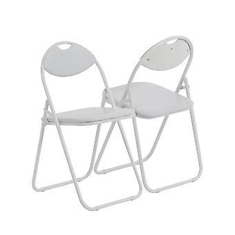 White Padded, Folding, Desk Chair / White Frame - Pack of 6