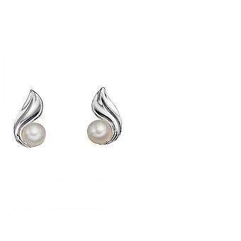 Elementos pérola de prata e twist stud brincos e5496W