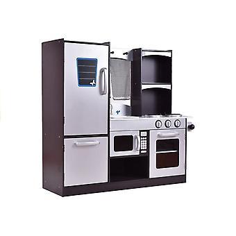 Cuisine en bois argent avec réfrigérateur, four et micro-ondes - 105 x 30 x 95 cm