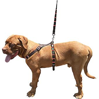 Carlos diaz genuine leather waxed embroidered polo dog matching easy control no pull back harness and lead set cdbh3
