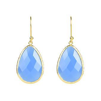 Latelita Sterling Silver 22ct Gold Earring Tear Drop Blue Chalcedony Gemstone