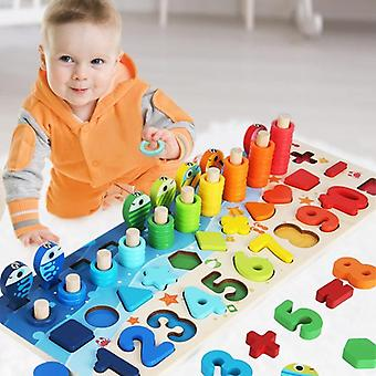 Baby Montessori Math, Educational, 5 In 1 Fishing Count Numbers Matching