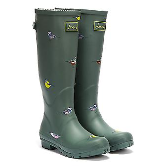 Joules Tall Gusset Print Birds Mujeres Green Wellies
