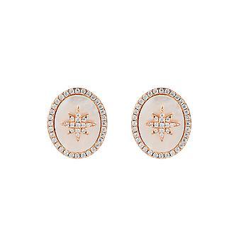 Pink White Oval Starburst Perlemor CZ Gemstone Rose Gold Stud Øreringe