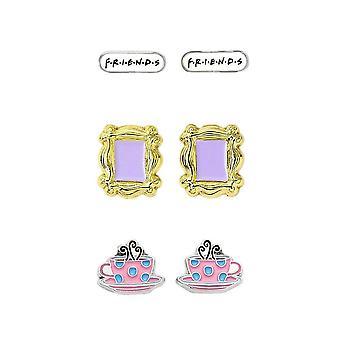 Friends Icons Stud Earring Set - Cadre, Tasse de café et Logo