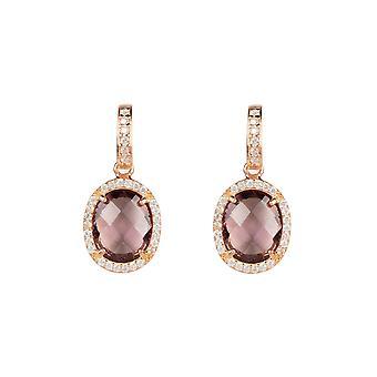 Boucle d'oreille Rose Gold Amethyst Purple Stud Gemstone Dangle Gift 925 Statement Bold