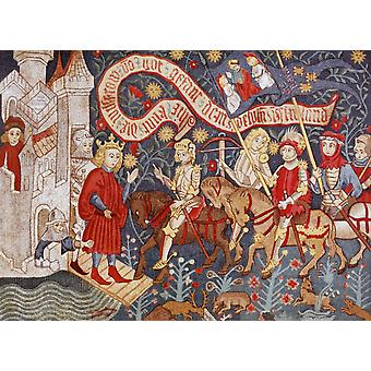 Ankunft der Jeanne d ' Arc auf dem Chateau De Chinon März 6. 1428 aus militärischen und religiösen Lebens im Mittelalter von Paul Lacroix veröffentlicht London ca. 1880 PosterPrint