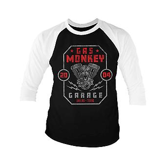 Gas Monkey Garage Baseball Shirt Twin Engine new Official Mens Black 3/4 Sleeve