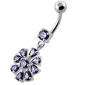 Purple Gemstone Trendy Flower Design Sterling Silver Belly Bars Piercing