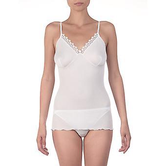 Oscalito 418-10 Women's White Cotton Spaghetti Vest Top
