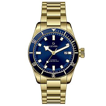 Gevril Men's Yorkville Blue Dial IP Yellow Gold Watch