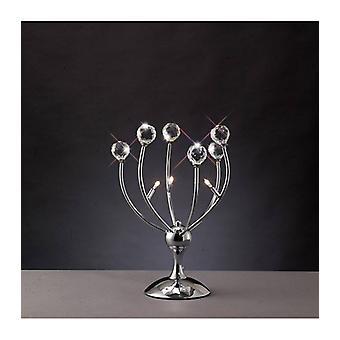Xeena Tafellamp 3 Bollen Gepolijst chroom / kristal