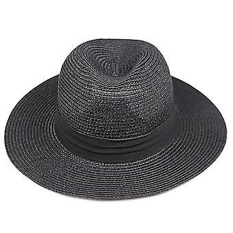 Summer Fashion Flat Brim Straw Fedora Sun-shading Hat Beach Cap
