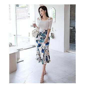 Queen Women Summer Work Wear Suit, Off The Shoulder Blouses & Print Sheath