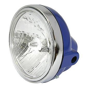 "Universal 7"" Round Headlight Blue Shell Chrome Rim Diamond Eye Lens 12V 35W"
