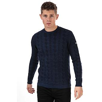 Men's Henri Lloyd Wool Mix Round Neck Cable Jumper in Blue