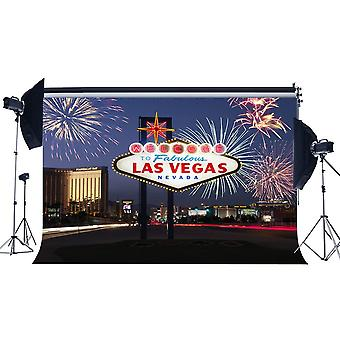 Haosphoto 7x5ft/210x150cm üdvözöljük a Las Vegas hátteret képzelet tűzijáték városkép éjszakai nézet Nevada