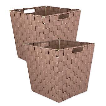 Dii Nylon Bin Basketweave Taupe Trapezoid (Set Di 2)