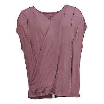 Laurie Felt Women's Top V-Neck Crossover Tee Purple A352538