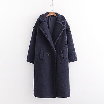 Осень Зима женщины Тедди пальто Стильный женский толстый теплый кашемир куртка случайный