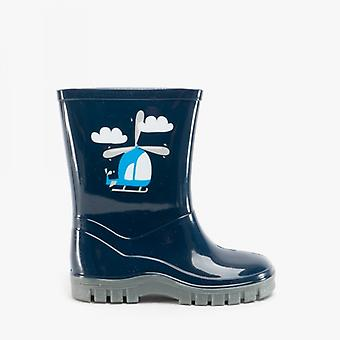 Stormwells Boys Helicopter Wellies Blue
