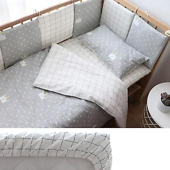 Nordic Striped Star Crib sängkläder set med stötfångare för nyfödda