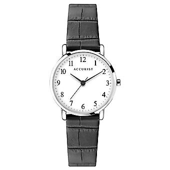 Accurist 8370 Classic Silver & Black Leather Ladies Watch