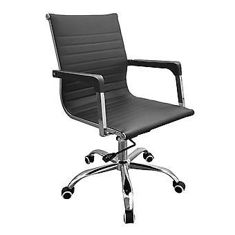 Contorno sedia ufficio casa Lust in base cromata in finta pelle nera