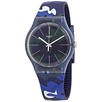 Swatch CamouClouds Quarz blau Camo Zifferblatt Männer's Uhr SUON140