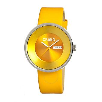 Crayo Button Quartz Yellow Dial Yellow Leather Unisex Watch CR0204