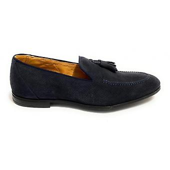 Lenny Men's Moccastine In Suede With Ocean Blue Hole and Pendagli Us20el05