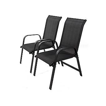 """Juego de 2 sillas para jardin textileno """"Porto""""- Phoenix - negro"""