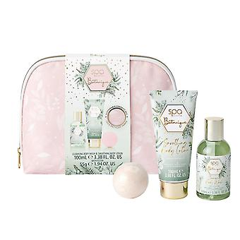 Style & Grace Spa Botanique Cosmetic Bag Set - Eco Packaging  2021 - 55g Bath Fizzer, 100ml Body Wash, 100ml Body Lotion, Cosmetics Bags