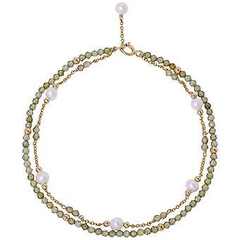 Pearls of the Orient Clara Peridot Fine Double Chain Bracelet - Green