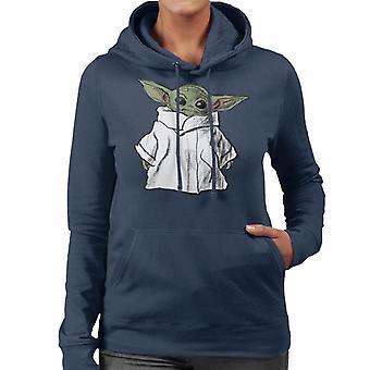 Gwiezdne Wojny Mandalorian Grogu Sketch Estetyczna damska bluza z kapturem