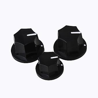 Potes padrão de 6mm Preto Plástico Plástico Botãos de baixo elétrico conjunto de 3