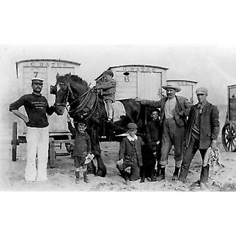 Bathing machine owner and swimming master, Essex. Framed Photo. Pictured in front of his bathing.