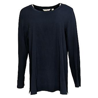 Isaac Mizrahi Live! Dames's Top Crew-Neck Knit Button Sleeve Blauw A370266